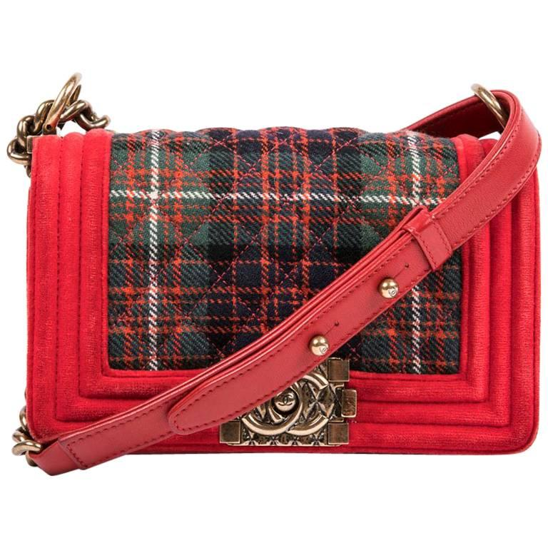 "Chanel ""Paris Edimbourg"" Red Velvet and Plaid Fabric Boy Flap Bag"