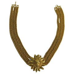 CHANEL Choker Necklace with 3 Chains and a Lion Head in Gilt Metal