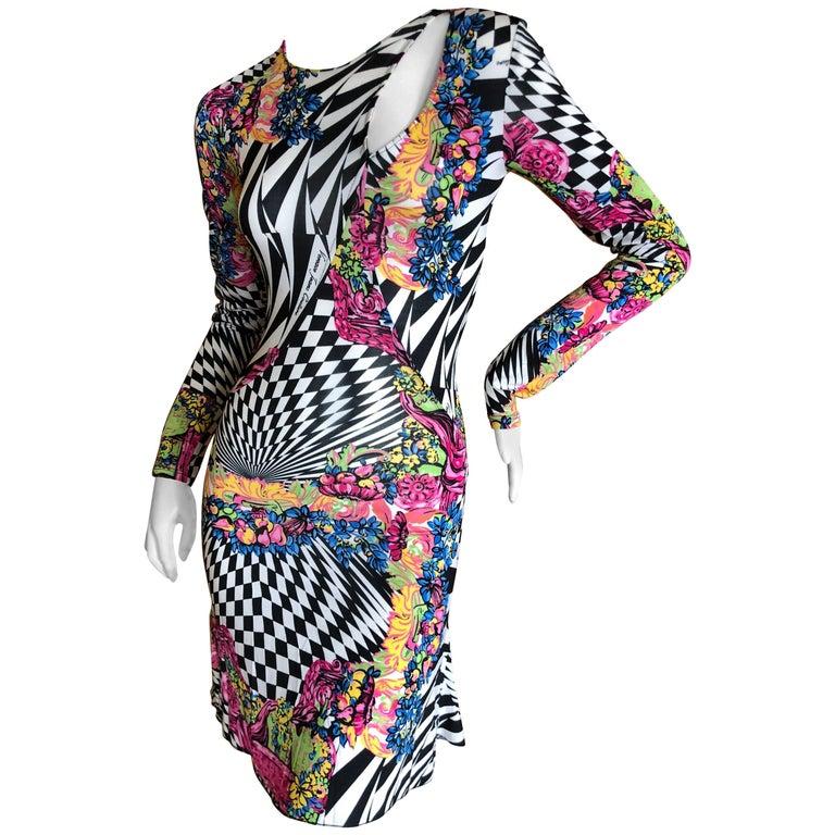 Versace Jeans Couture Colorful Vintage Op Art Print Keyhole Cocktail Dress