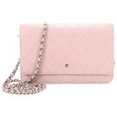 Chanel Diamond Stitch Wallet on Chain Quilted Lambskin