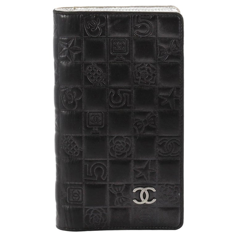 Chanel Precious Symbols Yen Wallet Embossed Quilted Lambskin Long