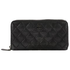 Chanel Zip Around Wallet Quilted Perforated Leather Long