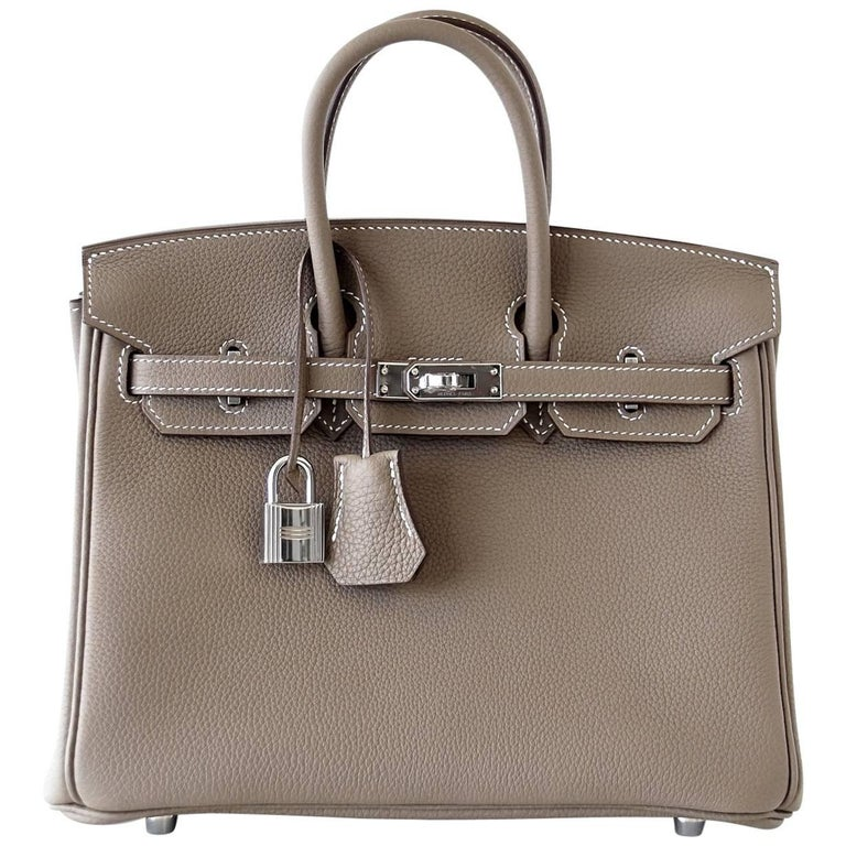 ee1a403427fc Hermes Birkin 25 Bag Etoupe Neutral Togo Palladium Hardware For Sale ...