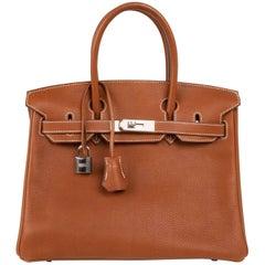 Hermes Barenia Faubourg Rare Palladium Birkin 30 Bag