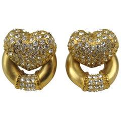 Vintage Escada Crystal Pave Heart Earrings New, Never Worn