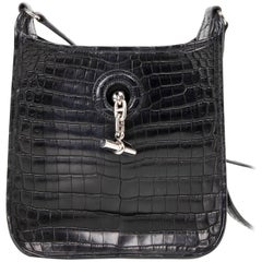 Hermes Vespa TPM Matte Black Crocodile Crossbody Shoulder Bag