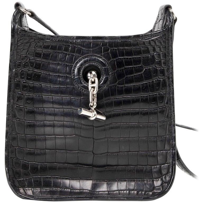 Hermes Vespa TPM Matte Black Crocodile Crossbody Shoulder Bag