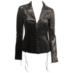 ROBERTO CAVALLI Black leather cropped biker jacket S Never worn
