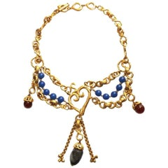 Yves Saint Laurent layered gilt heart necklace with polished gemstones, 1990s