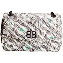 Balenciaga BB Round Medium Dollar Print Leather Chain Shoulder Bag