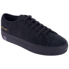 Common Projects Womens Black Suede Tournament Snake Sneakers