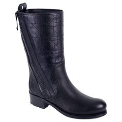 Dior Black Grained Leather Cannage Mid Calf Boots