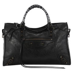 Balenciaga City Address Graffiti Classic Studs Handbag Leather Medium