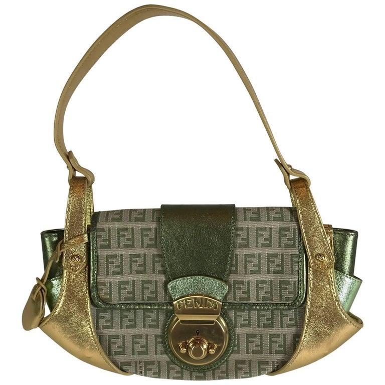 Fendi Gold and Green Metallic Handbag