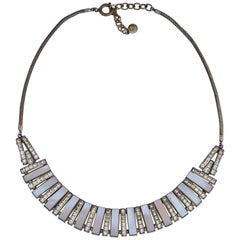 Art Deco DoSo Gold Plated Mother of Pearl and Rhinestone Necklace