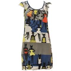 """Tsumori Chiaso """"Cat"""" Print Cotton Dress"""