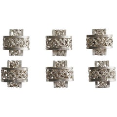 Set of Six Vintage 800 Silver Buttons