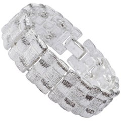 Vintage Napier Silver Tone Weave Link Bracelet