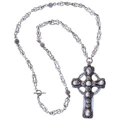 Vintage Silver and Baroque Pearl Celtic Cross and Chain
