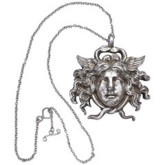 Vintage Silver Medusa Pendant and Chain