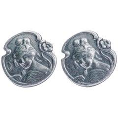Art Nouveau Silver Clip Vintage Earrings