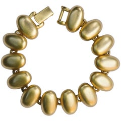 Monet Brushed Gold Plated Oval Link Vintage Bracelet