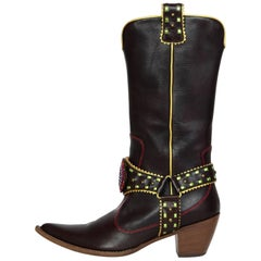 Giuseppe Zanotti Brown & Green Crystal Boots Sz 37