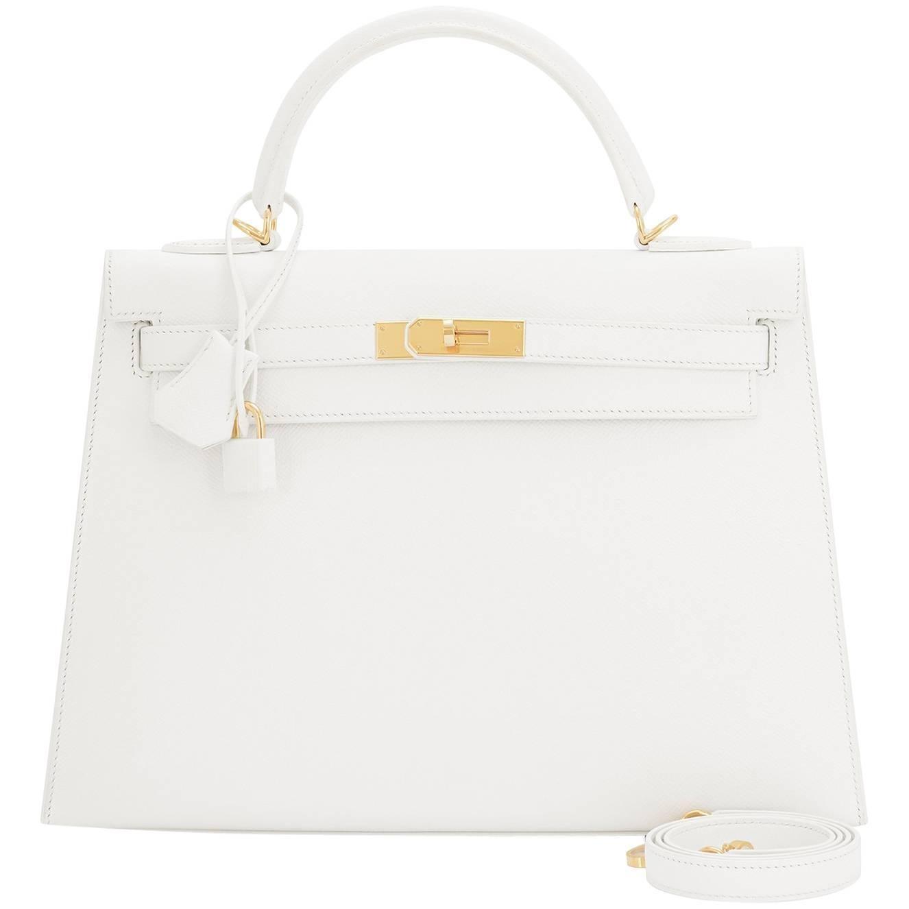 Hermes White Epsom Sellier Gold Hardware Kelly 32cm Shoulder Bag