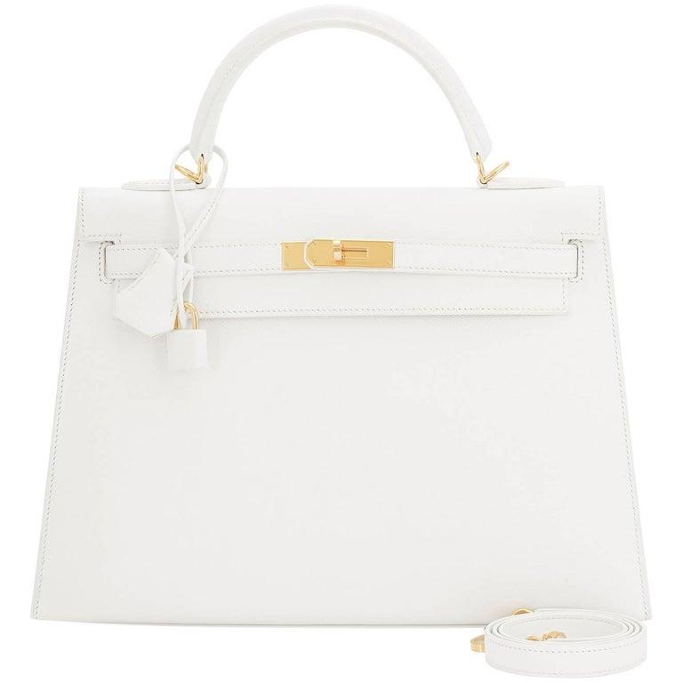 767d894c788a Hermes White Epsom Sellier Gold Hardware Kelly 32cm Shoulder Bag For Sale