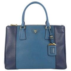 Prada Bicolor Double Zip Lux Tote Saffiano Leather Medium