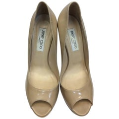 Jimmy Choo Nude Patent Leather Peep Toe Heel