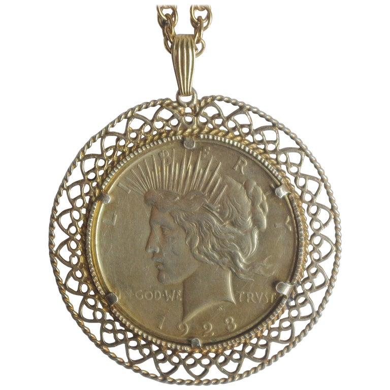 Vintage 12k Gold Gefüllte 1 Dollarmünze 1923 Frieden Münzen Anhänger