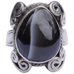 Silver and Cabochon Banded Agate Vintage Ring, circa 1970s