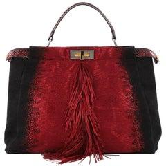 Fendi Fringe Peekaboo Handbag Textile with Python Large