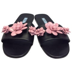Prada Pink and Black Leather Flower Sandal