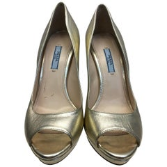 Prada Gold Leather Peep Toe Pump