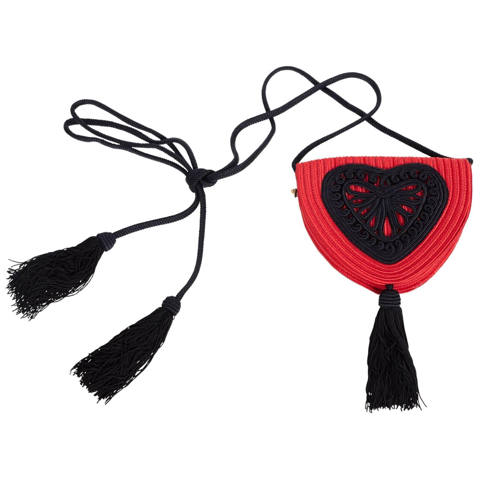 Yves Saint Laurent Red Heart Black Passementerie Tassel Bag, 1980s