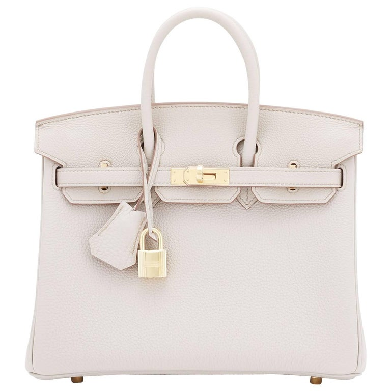b23358b6b62 Hermes Beton 25cm Togo Gold Hardware Off White Baby Birkin Bag For Sale
