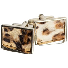 Mid-Century Leopard Print Pony Hair Cuff Links, 1950s