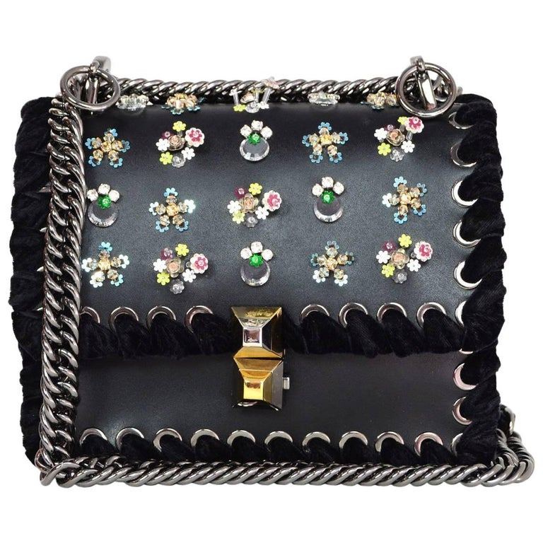 Fendi Black Leather Kan I Mini Whipstitch Stones Bag