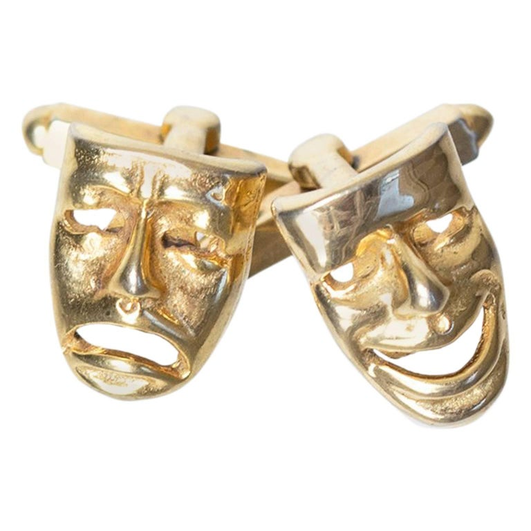 Mid-Century Comedy and Tragedy Theater Mask Cuff Links, 1960s For Sale