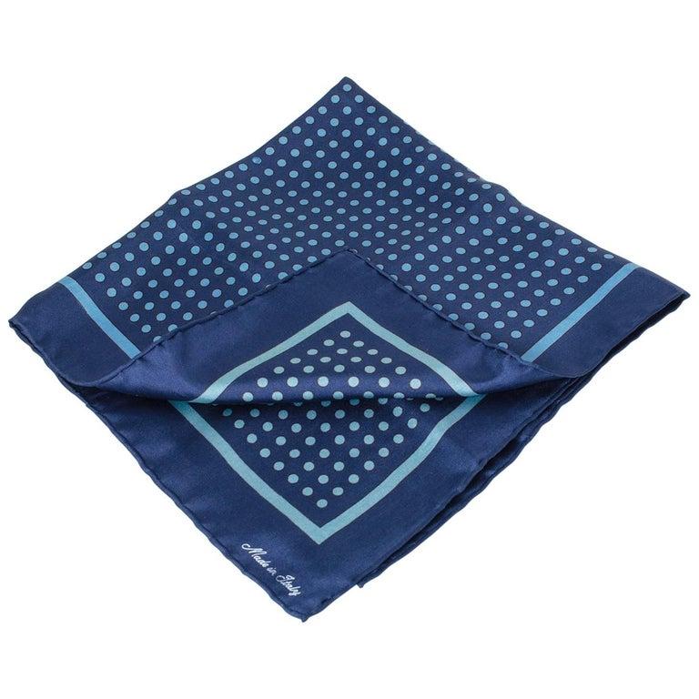 Bronzini Italian Silk Blue Dot Pocket Square Scarf, 1960s For Sale