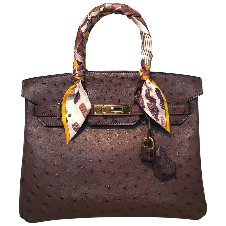 STUNNING Hermes Brown Ostrich 30cm Birkin Bag in excellent condition. Brown ostrich leather exterior trimmed with gold hardware and matching ostrich clochette with gold keys and lock. Signature twist double strap flap closure opens to a brown
