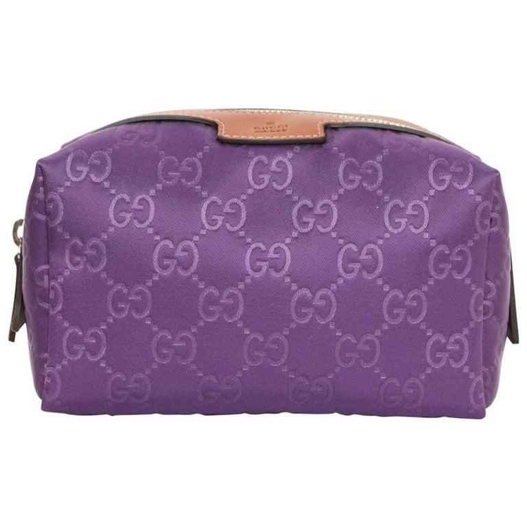 Gucci Purple Canvas Monogram Cosmetic Case w. Dust Bag