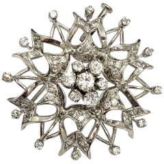 14K White Gold Flower Diamond Brooch / Pin