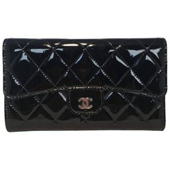 Chanel Black Patent Quilted Tri Fold Wallet