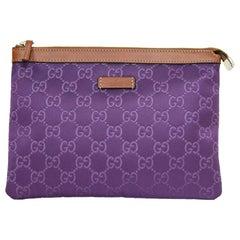 Gucci Purple Canvas Monogram Cosmetic Case/Clutch Bag w. Dust Bag