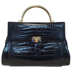 Judith Leiber Vintage Navy Blue Alligator Handbag with Lapis Detail
