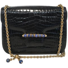 Gucci Vintage Navy Blue Alligator Shoulder Bag