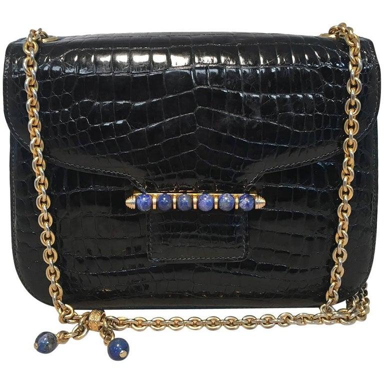 Gucci Vintage Navy Blue Alligator Shoulder Bag For Sale